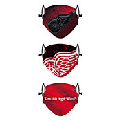 FOCO Youth Detroit Red Wings Adjustable 3-Pack Face Coverings