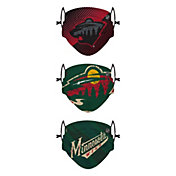 FOCO Youth Minnesota Wild Adjustable 3-Pack Face Coverings