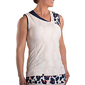 SwingDish Women's Daisy Print Sleeveless Golf Polo