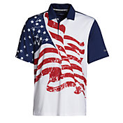 Walter Hagen Men's Perfect 11 Folds Of Honor Allover Flag Golf Polo
