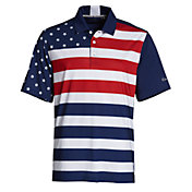 Walter Hagen Perfect 11 Folds of Honor Rugby Stripe Flag Polo