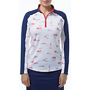 San Soleil Women's Solcool Color Block Long Sleeve Golf Shirt