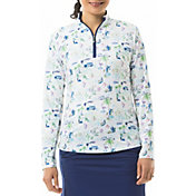 San Soleil Women's Solcool Print Mock Neck Long Sleeve Golf Shirt