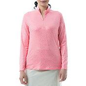 San Soleil Women's Solshine Foil Print Mock Neck Long Sleeve Golf Shirt