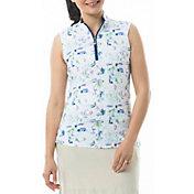 San Soleil Women's Solcool Sleeveless Mock Neck Golf Shirt