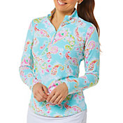 IBKUL Women's Paisley 1/4 Zip Long Sleeve Mock Neck Pullover