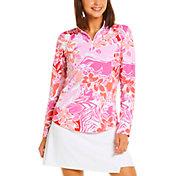 IBKUL Women's 1/4 Zip Long Sleeve Mock Neck Golf Pullover