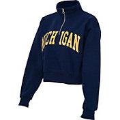 ZooZatz Women's Michigan Wolverines Blue Cropped Quarter-Zip Sweatshirt