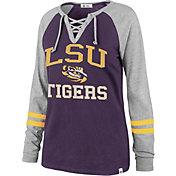 '47 Women's LSU Tigers Purple Lace-Up Long Sleeve T-Shirt