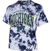 '47 Women's Michigan Wolverines Blue Cropped Tie-Dye T-Shirt
