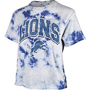 '47 Women's Detroit Lions Tie Dye Tubular Cropped Tie Dye T-Shirt