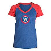 5th & Ocean Women's Chicago Cubs Royal Raglan Tri-blend V-Neck T-Shirt