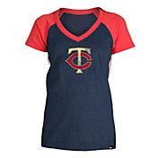5th & Ocean Women's Minnesota Twins Navy Raglan Tri-blend V-Neck T-Shirt