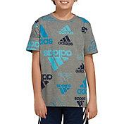 adidas Boys' Brand Love Heathered Sketch T-Shirt