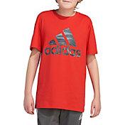 adidas Boys' Short Sleeve Camo Badge Of Sport T-Shirt