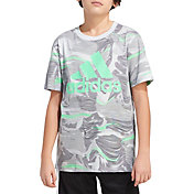 adidas Boys' Short Sleeve Warped Camo Allover Print T-Shirt