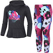 adidas Toddler Girls' Mélange Hooded Top and Tights Set
