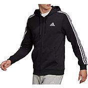 adidas Men's Essentials French Terry 3-Stripes Full Zip Hoodie