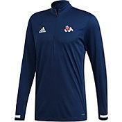adidas Men's Fresno State Bulldogs Blue Quarter-Zip Pullover Shirt