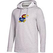 adidas Men's Kansas Jayhawks Grey Logo Fleece Pullover Hoodie