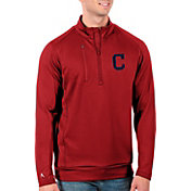 Antigua Men's Tall Cleveland Indians Generation Red Half-Zip Pullover