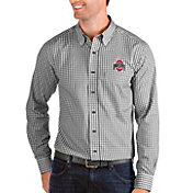 Antigua Men's Ohio State Buckeyes Black Structure Button Down Long Sleeve Shirt