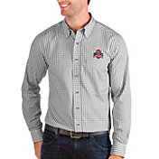 Antigua Men's Ohio State Buckeyes Gray Structure Button Down Long Sleeve Shirt