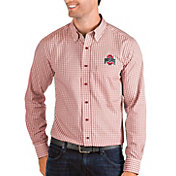 Antigua Men's Ohio State Buckeyes Scarlet Structure Button Down Long Sleeve Shirt