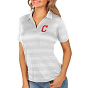 Antigua Women's Cleveland Indians Compass White Polo