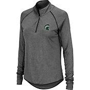 Colosseum Women's Michigan State Spartans Grey Stingray Quarter-Zip Pullover Shirt