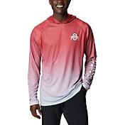 Columbia Men's Ohio State Buckeyes Scarlet PFG Super Terminal Tackle Long Sleeve Hooded T-Shirt