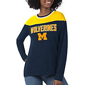 G-III For Her Women's Michigan Wolverines Blue Direct Snap Long Sleeve T-Shirt