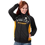G-III for Her Women's Pittsburgh Steelers Sequins Black Track Jacket