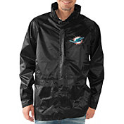 G-III Men's Miami Dolphins Full-Zip Hard Rain Black Jacket