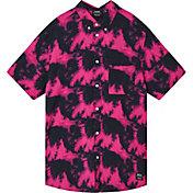 WeSC Men's Oden Pink Glow Tie Dye Short Sleeve Shirt