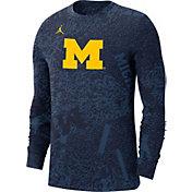 Jordan Men's Michigan Wolverines Blue Football Team Issue Practice Long Sleeve T-Shirt