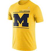 Jordan Men's Michigan Wolverines Maize Dri-FIT Velocity Football Sideline T-Shirt