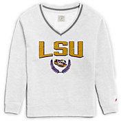 League-Legacy Women's LSU Tigers Victory Springs White V-Neck Sweatshirt