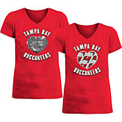 New Era Apparel Girl's Tampa Bay Buccaneers Sequins Heart Red T-Shirt