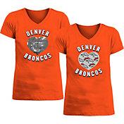 New Era Apparel Girl's Denver Broncos Sequins Heart Orange T-Shirt