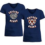 New Era Apparel Girl's Chicago Bears Sequins Heart Navy T-Shirt