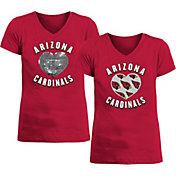 New Era Apparel Girl's Arizona Cardinals Sequins Heart Red T-Shirt