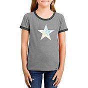 New Era Girls' Dallas Cowboys Candy Sequins Grey T-Shirt