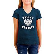 New Era Girls' Dallas Cowboys Sequins Heart Navy T-Shirt