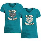 New Era Apparel Girl's Miami Dolphins Sequins Heart Aqua T-Shirt