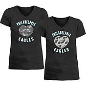 New Era Apparel Girl's Philadelphia Eagles Sequins Heart Black T-Shirt