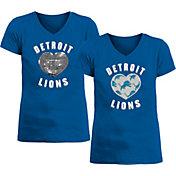 New Era Apparel Girl's Detroit Lions Sequins Heart Blue T-Shirt