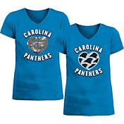 New Era Apparel Girl's Carolina Panthers Sequins Heart Blue T-Shirt