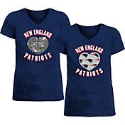 New Era Apparel Girl's New England Patriots Sequins Heart Navy T-Shirt