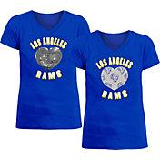 New Era Apparel Girl's Los Angeles Rams Sequins Heart Royal T-Shirt